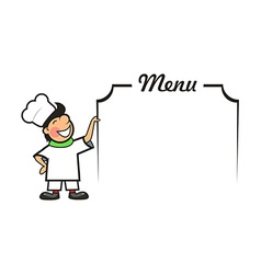 Chef with menu area vector