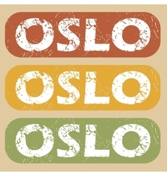 Vintage oslo stamp set vector