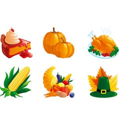 set of icon for thanksgiving vector image