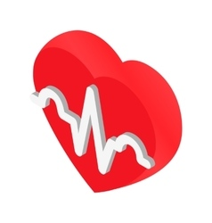 Heartbeat isometric 3d icon vector