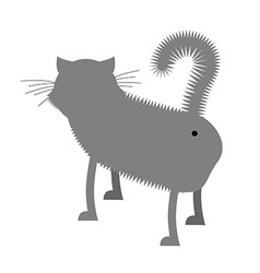 Ass cat pet stands back funny gray cat with tail vector