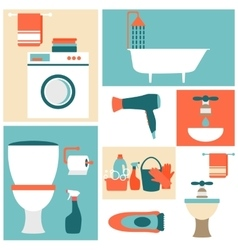 Flat design icons on a theme of bathroom toilet vector