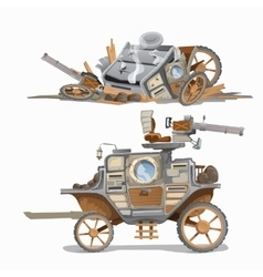 Armed carriage and wrecked it two image vector