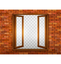 Wooden window on the windowsill vector image