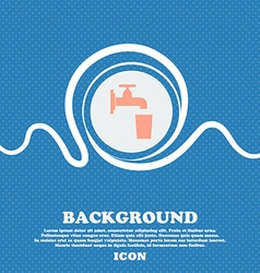 Faucet glass water sign icon blue and white vector