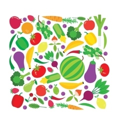 Fruit and vegetable square background vector