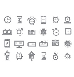 Clocks gray icons set vector