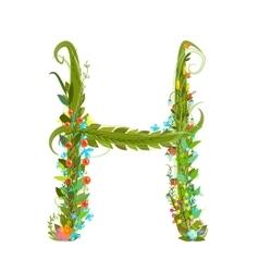 Alphabet letter H elegant flower blooming vector image vector image