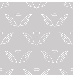Angel wings gray sketch pattern vector image vector image