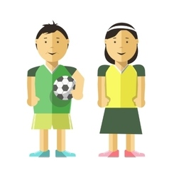 Boy girl and soccer ball vector
