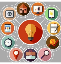 Business management and data analytics icon set vector