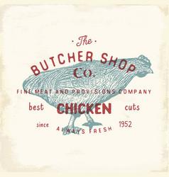 Butcher shop vintage emblem chiken meat products vector
