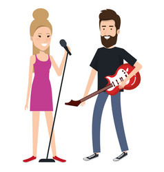 couple singing with microphone vector image vector image