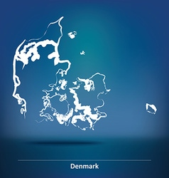 Doodle map of denmark vector