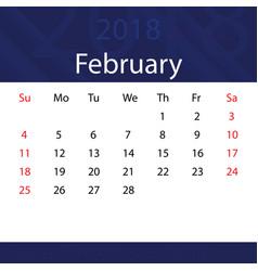 February 2018 calendar popular blue premium for vector