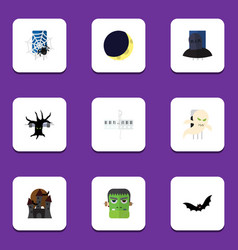 Flat icon celebrate set of monster crescent vector