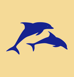 Flat icon on theme save whales a pair of dolphins vector