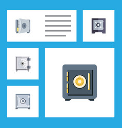 flat icon strongbox set of saving coins vector image vector image