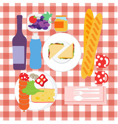 food set for summer picnic with tablecloth with vector image