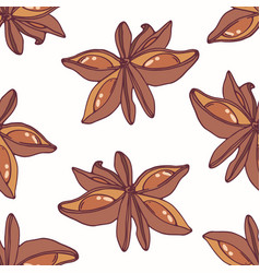 hand drawn seamless pattern with star anise vector image