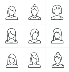 Line icons style woman icons set design vector
