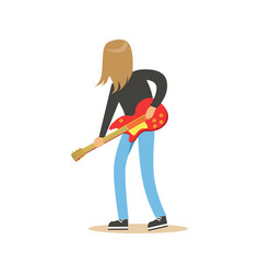 long haired guitarist is playing on electric vector image vector image