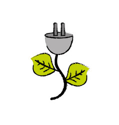 Power cable with leaves to environment care vector
