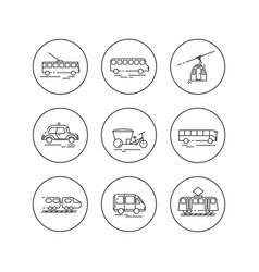 public city transport flat llinear icons vector image vector image