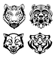 Set heads of wild animals vector