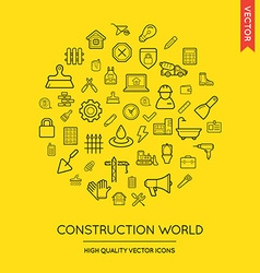 Set of construction modern flat thin icons vector
