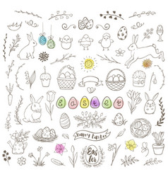 Set of easter doodles vector