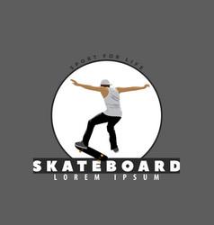skateboarder on a dark background vector image vector image