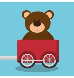 Teddy in train wagon vector