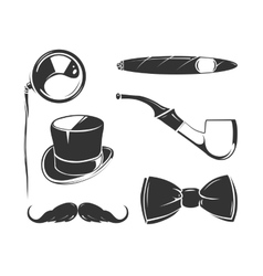 Vintage elements for tobacco gentlemen vector image