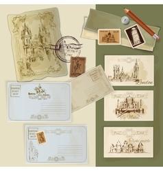 Vintage postcards set vector