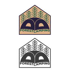 vintage tent emblem with forest vector image