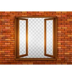 Wooden window on the windowsill vector image vector image