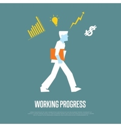 Working process banner with businessman vector image