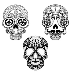Zentangle stylized patterned skulls set for vector