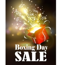 Boxing day background with open red box vector image