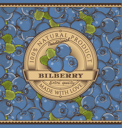 Vintage bilberry label on seamless pattern vector