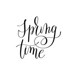 Spring black and white hand written lettering vector