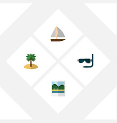 flat hot set of scuba diving reminders yacht and vector image