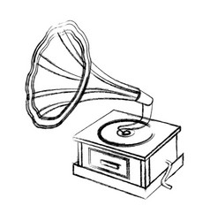 blurred silhouette gramophone sound reproduction vector image