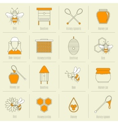 Bee honey icons flat line set vector