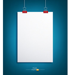 Background with a piece of paper hanging vector