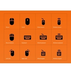 Mouse and keyboard icons on orange background vector