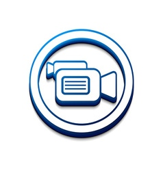 3d glossy camera web icon vector