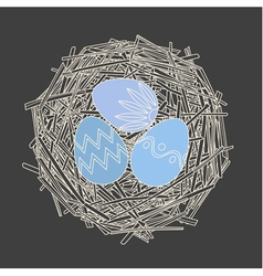 Straw nest with decorative easter eggs vector
