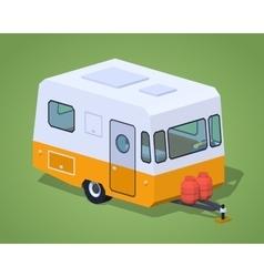 Low poly retro camper vector image